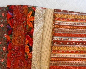 Quilting Fabric Bundle in Beige and Rust.