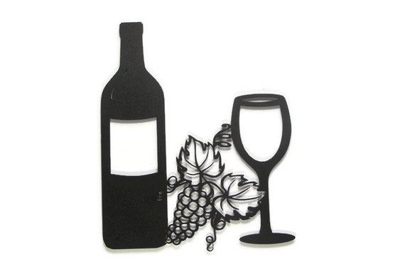 Wine Bottle With Wine Glass And Grape Cluster Metal Wall Art Etsy