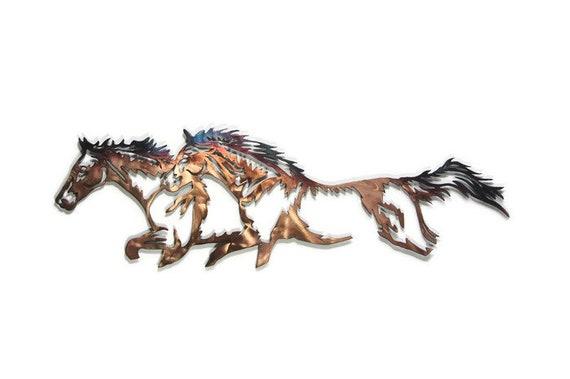 western running horses patina cnc plasma home decor metal wall etsy
