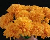 Day of the Dead 50 Yellow Marigolds, Dia de Los Muertos, Mexican Flowers, Crepe Paper Flowers, Wedding Decorations, Cinco de Mayo, Fiesta