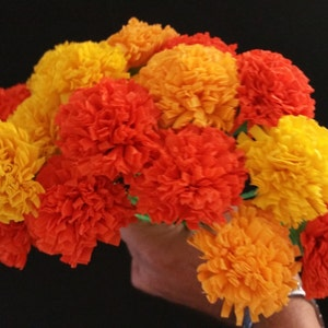 Day of the dead etsy day of the dead 24 orange and yellow marigolds dia de los muertos mexican flowers crepe paper flowers wedding decorations party decor mightylinksfo