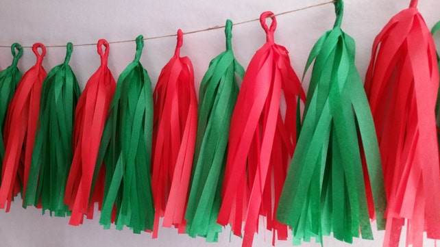 20 Tassel Christmas Tissue Paper Garland, Christmas Decorations, Red Green, Holiday Decorations, Tassel Garland, Tissue Tassels, Birthday