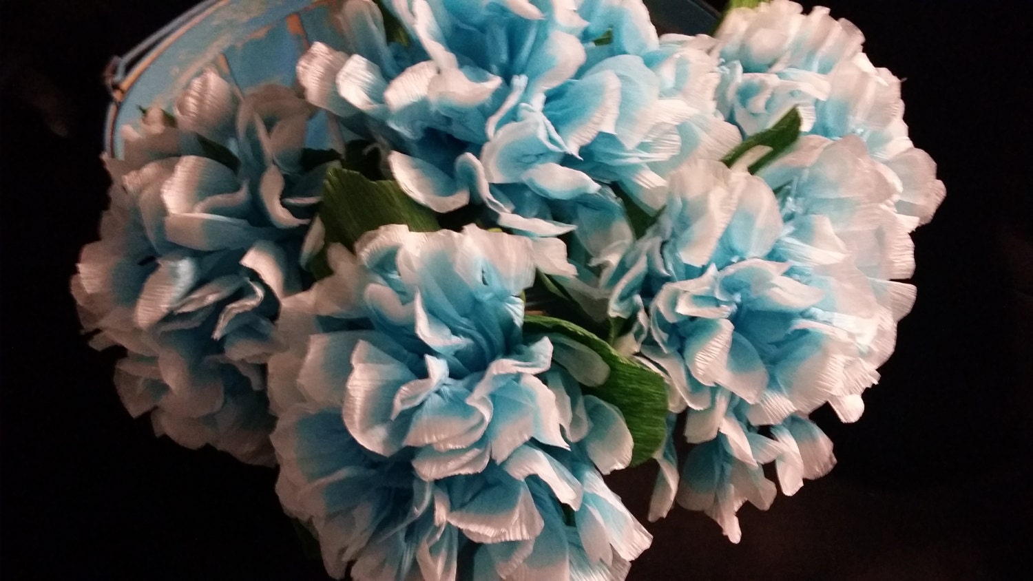 12 Baby Blue Hydrangea Crepe Paper Flowers Mexican Flowers Etsy