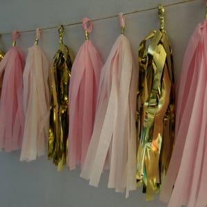Pink White Metallic Gold QUINCEANERA  20 Tassel Tissue Paper Garland Balloon Tassel Baby Shower Sweet 16 Wedding Decorations Birthday