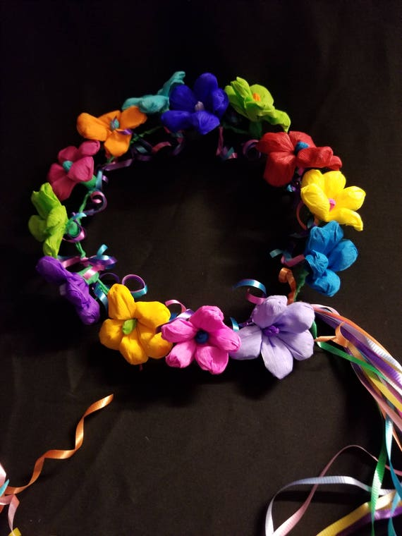 Flower Crown Mexican Fiesta Crepe Paper Crown Mexican Flowers Cinco De Mayo Day Of The Dead Taco Party Paper Flowers Easter Paper