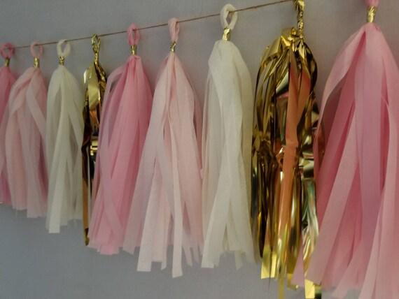 Quinceanera 20 Tassel Tissue Paper Garland, Blush Pink Metallic Gold, Wedding Decoration, Birthday,  Girl Baby Shower, Sweet 16, Streamers