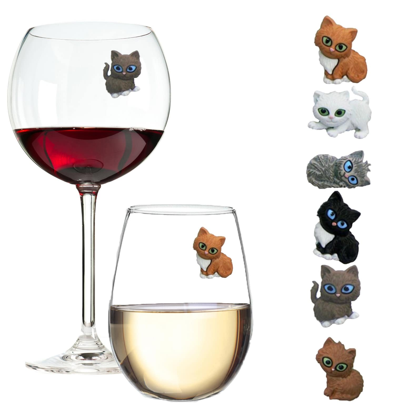 Magnetic Cat Wine Glass Charms