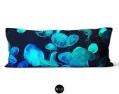 Blue Moon Jellyfish - Body Pillow, 20x54 Inch Lumbar Pillow, Ocean Nautical Style Full Body Bedding Accent, Black and Blue Microfiber Pillow