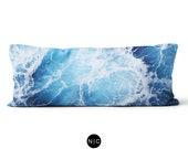 Blue Ocean Surf - Body Pillow, 20x54 Inch Lumbar Pillow, Ocean Waves Beach Surf Decor Bedding Full Body Pillow Microfiber Bed Style Cushion