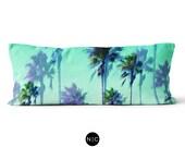 Jungle Green Palms - Body Pillow, 20x54 Inch Lumbar Pillow, Beach Surf Tropical Bedding Full Body Pillow Microfiber Rectangular Cushion