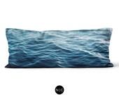 Dark Waters - Body Pillow, 20x54 Inch Lumbar Pillow, Deep Ocean Blue Beach Surf Style Bedding Full Body Pillow Microfiber Rectangle Cushion