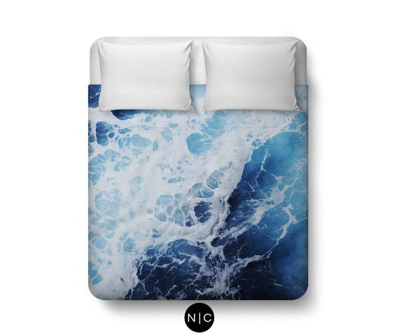 blue ocean surf 2 housse de couette chambre c ti res decor etsy. Black Bedroom Furniture Sets. Home Design Ideas