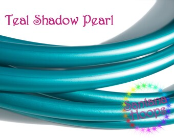 "3/4"" Teal Shadow Pearl Metallic PolyPro Hula Hoop Button collapsible  -Free Grip Tape Option-"