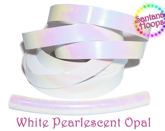 White Pearlescent Morph Taped Performance Hula Hoop Polypro or HDPE
