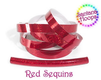 Red Sequins Fully Taped Performance Hula Hoop Polypro or HDPE