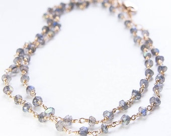 Labradorite Necklace. Gemstone Strand Necklace. Goldfill or Sterling Silver Necklace. Layering Necklace. Multi Strand Necklace