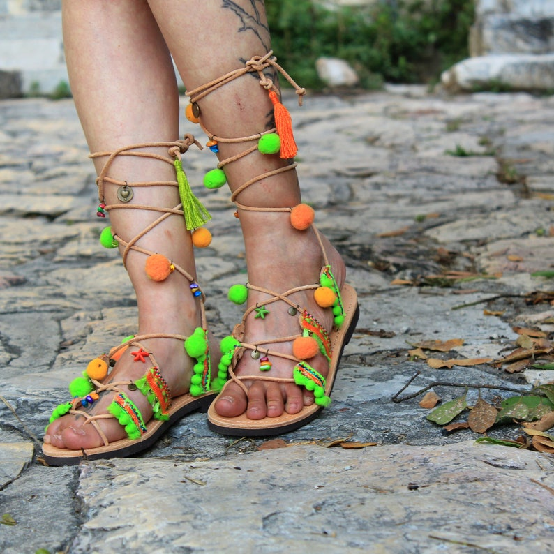 green orange sandals ethnic sandals Greek Leather Boho Sandals PHOEBE Tie up Gladiator Sandals colorful hippie sandals pom pom sandals
