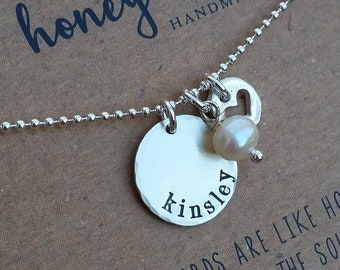 READY 2 SHIP . Personalized Necklace  .  Name necklace . Personalized gift for Mother's day  .  Hand Stamped Jewelry  .  Mothers Day Gift