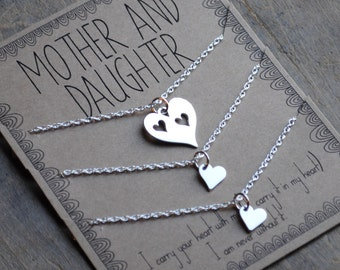 READY TO SHIP . Mother Daughter Necklace Set Of Three mothers day gift .  I carry your heart with me  .  mother of the bride