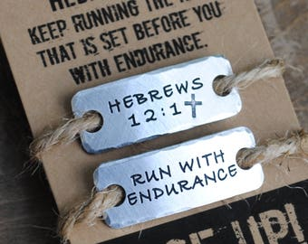 run with endurance {SET of TWO} shoe tags  .  lace tags hebrews 12.1 .  runners gift  .  running tag