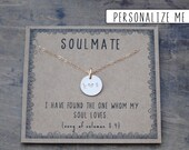 Soulmate initial necklace . Couples Initial Necklace for girlfriend wife . Personalized Anniversary Gift . Custom Birthday Gift