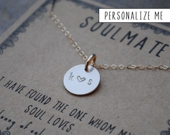READY TO SHIP . Couples Initial Necklace  .  the {soulmate} Personalized couples  initial necklace .  Custom Jewelry Gift