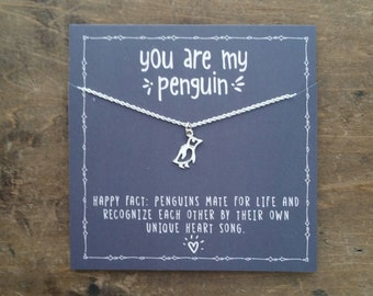 You are my penguin necklace .   Jewelry Gift for girlfriend . for wife . Winter Anniversary .  Birthday for Her  . Penguin love