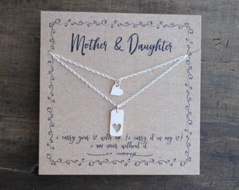 READY TO SHIP . Mother Daughter Necklace Set .  i carry your heart  .  Mothers Day Gift .  back to school gift .  mother of the bride gift