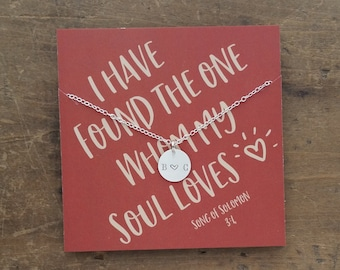 Soulmate initial necklace . Couples Initial Necklace for girlfriend wife  .  Personalized Anniversary Gift . Custom Birthday Day Gift