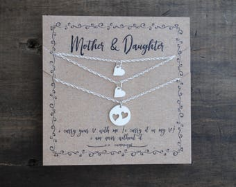READY TO SHIP . Mother Daughter Necklace  .  Set of THrEE Sterling Round Necklace Set .  Mothers day gift for mom, for wife