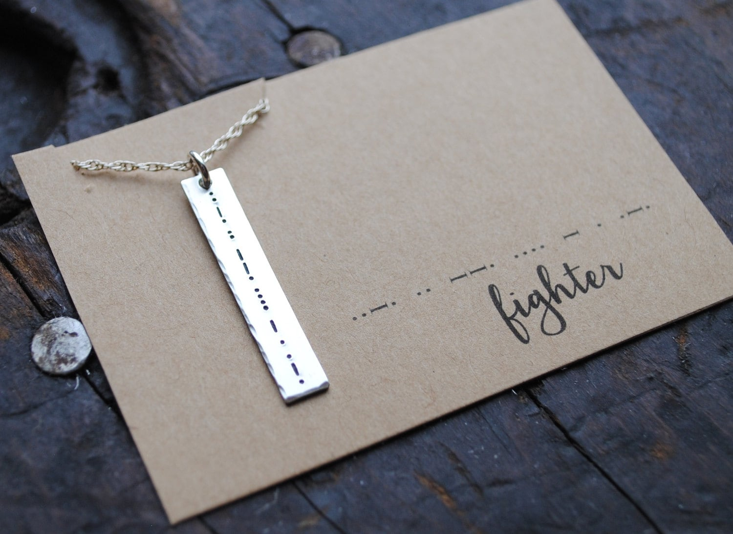 morse code {secret message} bar necklace