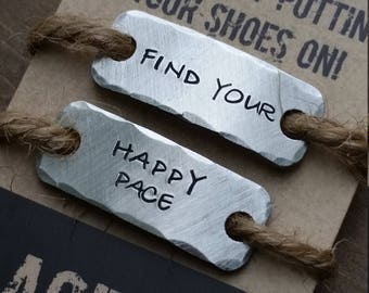 running shoe tags {SETofTWO}  .  find your happy pace . runners gift for runner .  marathon inspiration