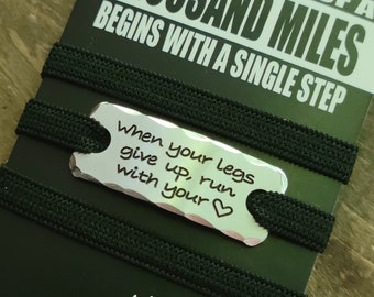 Shoelace tag {SINGLE}   .   Running tags  .  When Your Legs Give Up  .  inspirational tag marathoners, triathletes, runners . runners gift
