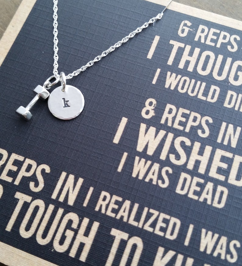 Fitness Motivation Workout Inspiration Jewelry Too Tough Necklace TINY Initial Jewelry Cross Fit Jewelry