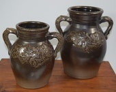 X2 Rowe Pottery Works Cambridge, Wisconsin 2005 Albany Slip Maple Leaf Vases Jugs Crocks Set of 2 Limited Edition PERFECT 11.75 quot 9.25 quot