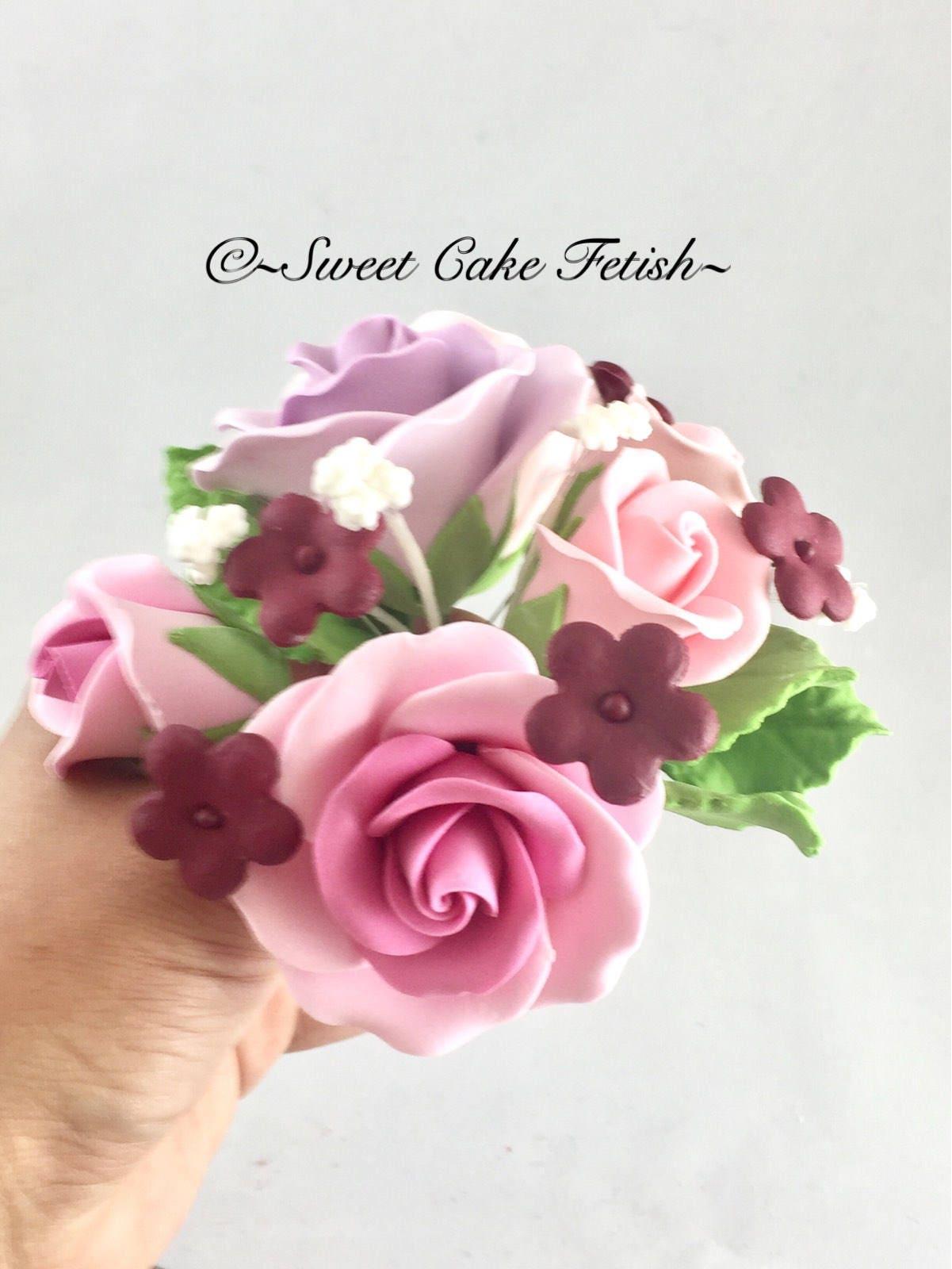 Gumpaste flowers bridal bouquet cake topper gumpaste etsy zoom izmirmasajfo