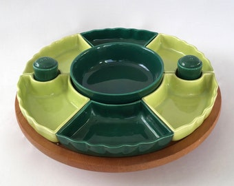 Vintage Lazy Susan, Divided Relish Tray, Appetizer Tray, Wooden Lazy Susan, Salt and Pepper Shakers, Green Serving Dishes, Appetizer