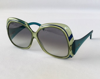 Vintage Sunglasses, Christian Dior, Green Plastic Oversized Frame, 2044-50 Large, Excellent Condition, Oversized Sunglasses, Made in Germany