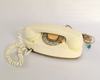 Vintage Princess Phone, Rotary Phone, Bell Systems Rotary Princess Phone, White Phone with Gold Accents, Office Decor, Mid Century, Working!