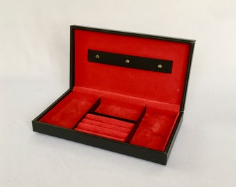 Vintage Cufflink Box, Jewelry Box Vintage, Black and Red