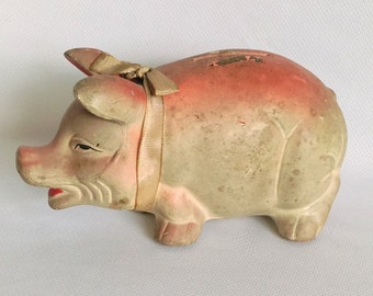 Vintage Piggy Bank, Chalkware Bank, Nursery Decor,  Collectible Pig, Toy Room Decor, Baby Shower Gift, Rustic Decor, Kids Bank