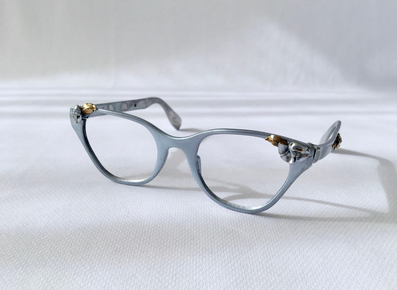 0b9c101bc6 Vintage Cat Eye Glasses Tura Glasses 50s Silver Cat Eye