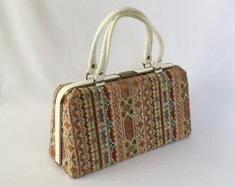 Vintage Purse, Dova USA, Fabric Carpet Bag Tapestry, Structured Top Handle, White Patent Leather Trim, Gold Accents, Needlepoint Frame Bag