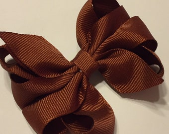 X Large French Clip Hair Bow Women/'s Boutique Barrette Brown Silk Habotai Fabric