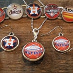Houston Astros  Handmade Fan Jewelry Glass Charm Bracelet Earrings or Double Sided Pendant