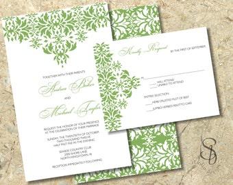 Damask Wedding Invitation and RSVP. Green damask invitation. Wedding Invitation