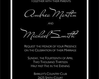 Black and white monogram DIY Wedding Invitation and RSVP Set