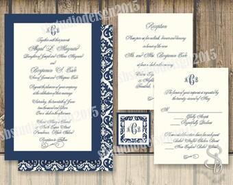 DIY vintage monogram navy Wedding Invitation and RSVP Set