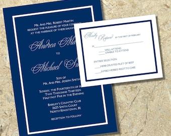 Navy and white DIY Wedding Invitation and RSVP Set printable