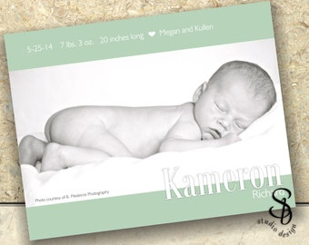 DIY baby photo announcement card in light green